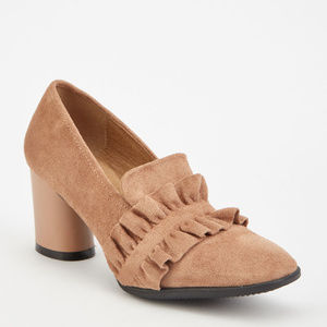 Ruffle Trim Suedette chunky Heeled Loafers